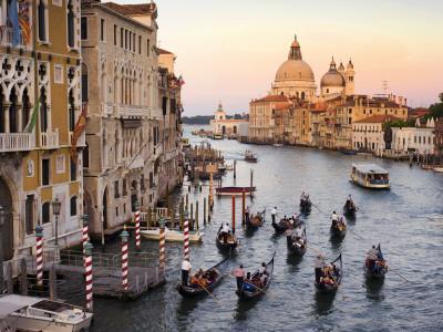 Flotilla of Gondolas Heading Toward Chiesa Di Santa Maria Della Salute in Early Evening