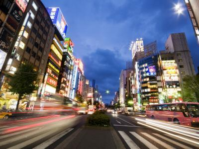 Neon-Lit Streetscape of Yasukuni-Dori Avenue in Shinjuku District