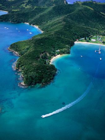 Speedboat off Island Coastline, Bay of Islands, Northland, New Zealand, North Island