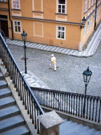 Stairs and Woman Walking, from Charles Bridge