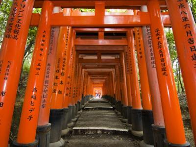 Traditional Torii with Inscriptions at Fushimi Inari Shrine