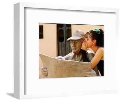 Girl in Quincinera (15th) Birthday Dress Whispering to Statue, Plaza Del Carmen, Camaguey, Cuba