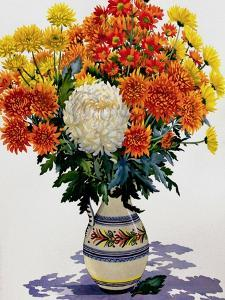 Chrysanthemums in a Patterned Jug, 2005 by Christopher Ryland