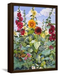 Hollyhocks and Sunflowers, 2005 by Christopher Ryland