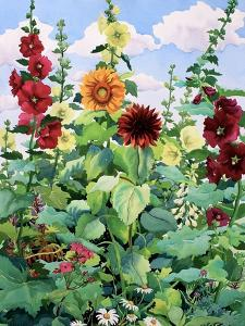 Hollyhocks and Sunflowers by Christopher Ryland