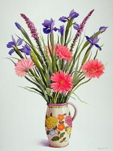 Irises and Berbera in a Dutch Jug by Christopher Ryland