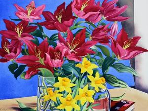 Magenta Lilies and Daffodils by Christopher Ryland