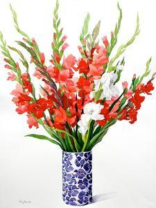 Red and White Gladioli by Christopher Ryland