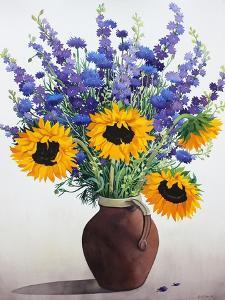Summer Flowers in Brown Jug by Christopher Ryland