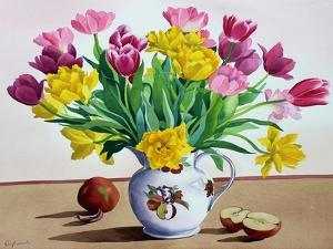 Tulips in Jug with Apples by Christopher Ryland