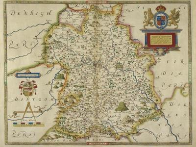 Map Of Shropshire by Christopher Saxton