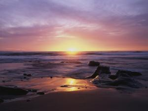 California, San Diego, Sunset Cliffs, Sunset over a Beach and Ocean by Christopher Talbot Frank