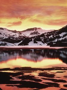 California, Sierra Nevada, Sunset, Mountains Reflecting on Ellery Lake by Christopher Talbot Frank