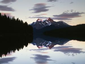 Canada, Alberta, Jasper NP, Mountains Reflecting in Maligne Lake by Christopher Talbot Frank