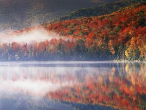 New York, Adirondack Mts, Fall and Fog Reflecting in Heart Lake by Christopher Talbot Frank
