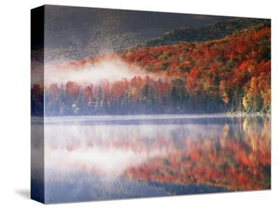 New York, Adirondack Mts, Fall and Fog Reflecting in Heart Lake