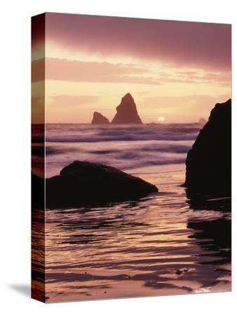Oregon, Sunset over Sea Stacks at Meyers Creek Beach