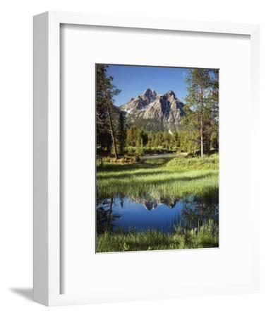 USA, Idaho, Sawtooth Wilderness, a Peak Reflecting in a Meadow Pond