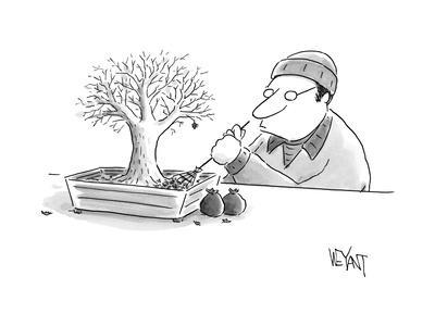 (A man rakes leaves in a tiny bonsai tree.  - New Yorker Cartoon
