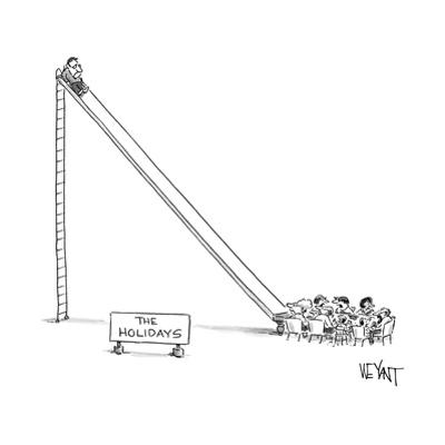 """A sign reading """"The Holidays"""" marks a scene where a man sits at the top of... - New Yorker Cartoon by Christopher Weyant"""