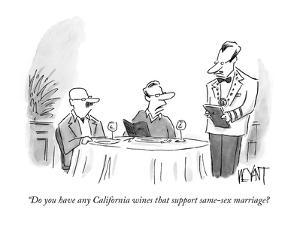 """""""Do you have any California wines that support same-sex marriage? - New Yorker Cartoon by Christopher Weyant"""