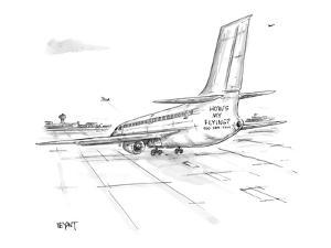 Jet airliner on runway with 'How's my Flying?  800 - 389 - 7499' painted b? - New Yorker Cartoon by Christopher Weyant