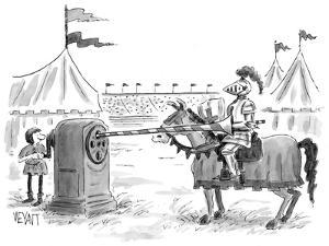 Knight has lance sharpened with a giant pencil sharpener. - New Yorker Cartoon by Christopher Weyant