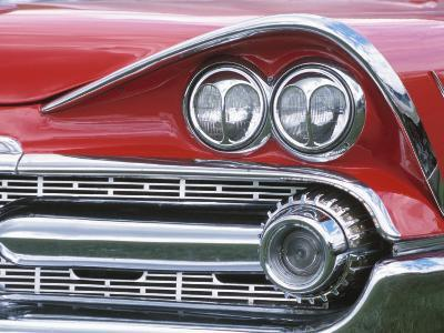 Chrome Lights on Antique Red Car--Photographic Print
