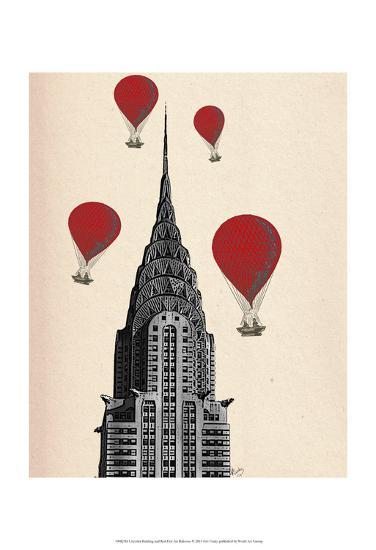 Chrysler Building and Red Hot Air Balloons-Fab Funky-Art Print