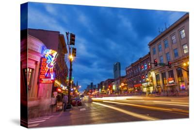 Broadway Street at Dusk in Downtown Nashville, Tennessee, USA