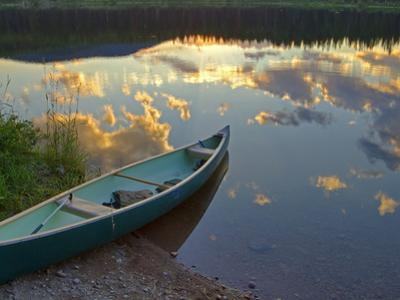 Canoeing on Rainy Lake at Sunset in the Lolo National Forest, Montana, Usa