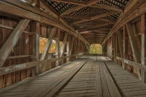 Cox Ford Covered Bridge over Sugar Creek,, Parke County, Indiana by Chuck Haney