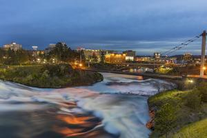 Dusk descends over Spokane Falls in Spokane, Washington State, USA by Chuck Haney