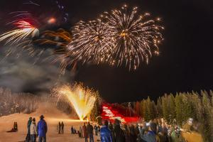 Firework Celebration at Whitefish Mountain Resort, Montana, USA by Chuck Haney
