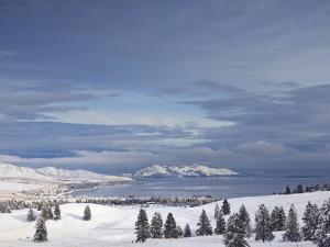 Looking Down onto Flathead Lake after Fresh Snowfall in Elmo, Montana, USA by Chuck Haney