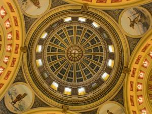 Looking up at the rotunda in the State Capitol Building in Helena, Montana, USA by Chuck Haney