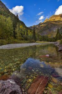 Mcdonald Creek in Autumn with Garden Wall in Glacier National Park, Montana, USA by Chuck Haney
