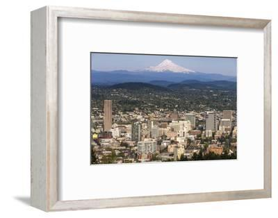 Mount Hood Looms over Downtown Portland, Oregon, USA