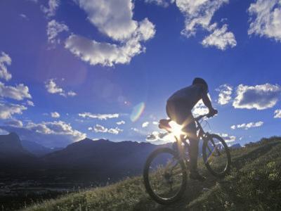 Mountain Biker at Sunset, Canmore, Alberta, Canada