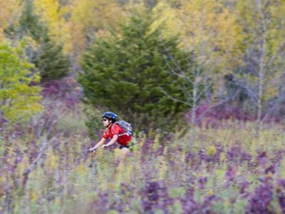 Mountain biking on the Murphy Hanrehan Trails near Minneapolis, Minnesota, USA