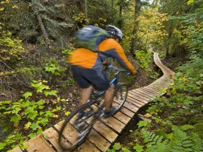 Mountain biking on the Stairway to Heaven Trail, Copper Harbor, Michigan, USA