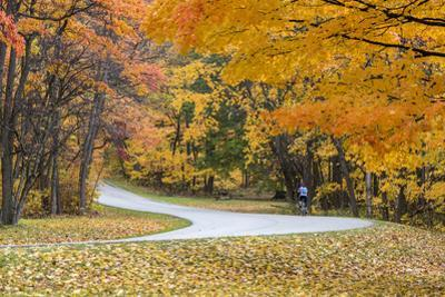 Road Bicycling in Autumn at Brown County State Park, Indiana, USA