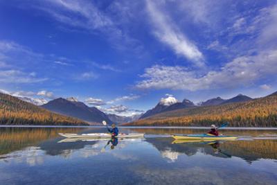 Sea Kayaking on Bowman Lake in Autumn in Glacier National Park, Montana, USA