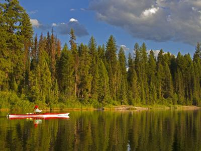 Sea Kayaking on Rainy Lake in the Lolo National Forest, Montana, Usa