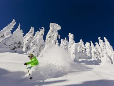 Skiing Untracked Powder on a Sunny Day at Whitefish Mountain Resort, Montana, Usa