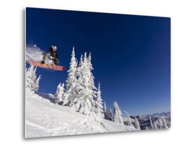 Snowboarding Action at Whitefish Mountain Resort in Whitefish, Montana, USA