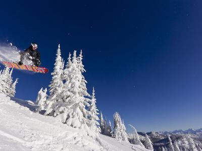Snowboarding Action at Whitefish Mountain Resort in Whitefish, Montana, USA