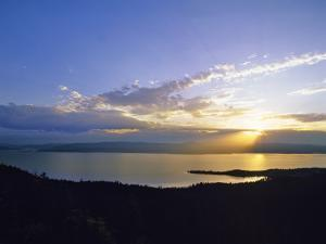 Sun Sets over Flathead Lake, Montana, USA by Chuck Haney