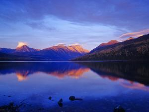 Sunset Colors the Peaks over Kintla Lake in Glacier National Park, Montana, USA by Chuck Haney
