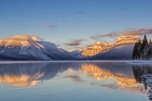 Sunset on Peaks Reflect Nto Lake Mcdonald in Glacier NP, Montana, Usa by Chuck Haney